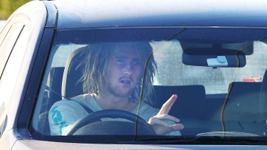 Star Bomber Dyson Heppell arrives at the club headquarters.