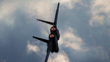 An Israeli Air Force F-15 plane in flight.