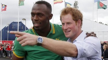 Bolt from the .... Prince Harry with Usain Bolt in Glasgow.