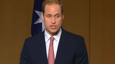 Prince William speaks at Parliament House, Canberra.