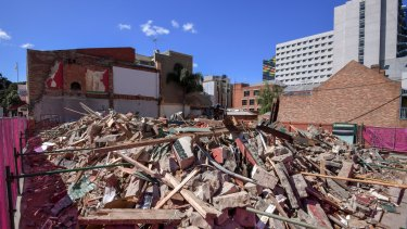 All that was left of Carlton's Corkman Irish Pub immediately after its illegal demolition.