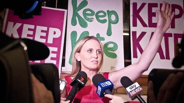 Outgoing member for Ashgrove Kate Jones greets supporters at Northern Hockey Club, Ashrove.