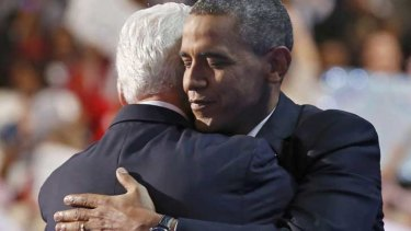 Embracing the  moment ... Bill Clinton and Barack Obama.