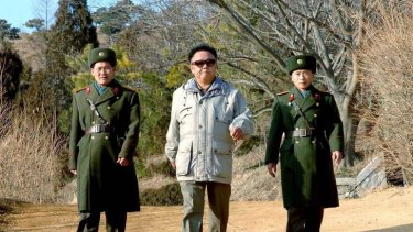 North Korean leader Kim Jong-il (C) inspects the command unit of Korean People's Army unit 109 at an undisclosed location in North Korea in this photo released by Korea News Service in December 27, 2006.