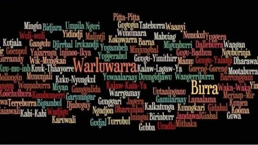 A word cloud showing the names of indigenous languages. Queenslanders are being enouraged to say g'day in an indigenous language during NAIDOC week.