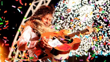 Golden days: Wayne Coyne of The Flaming Lips plays at Harvest in 2011.