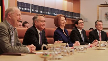 The Prime Minister Julia Gillard chaired today's meeting of the Multi-Party Climate Change Committee with, from left, Ross Garnaut, Wayne Swan, Greg Combet and Mark Dreyfus.