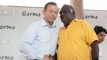 Opposition Leader Tony Abbott meets with Galarrwuy Yunupingu, chair of Yothu Yindi Foundation, during his visit to Arnhem Land on Saturday.