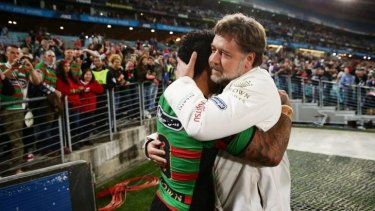 I had a dream: Russell Crowe embraces Issac Luke after the Rabbitohs win over the Roosters.