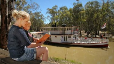 Once upon a time there was a steamboat ... Katelan Campbell and daughter Milla became involved through a Swan Hill story and play group.