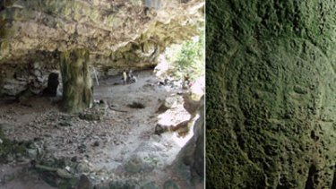 Lene Hara Cave ... shellfish, bones, tools, and now face carvings, right.