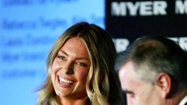 Jennifer Hawkins and Myer CEO Bernie Brookes pictured earlier this month.