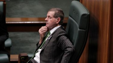 Not entirely comfortable: Peter Slipper in his new role as Speaker in the House of Representatives.