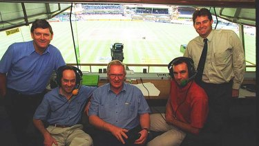 Tim Lane, second from left, with ABC commentators at the WACA in 1995. (L-R) Bob Massie, Tim Lane, Neville Oliver, the late Peter Roebuck and Terry Alderman.