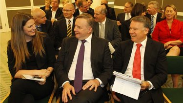 Anthony Albanese, with colleagues Kate Ellis and Joel Fitzgibbon, at Monday's caucus meeting.
