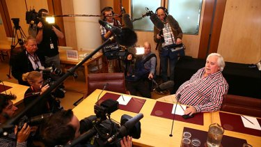 Palmer United Party leader Clive Palmer addresses the media on Thursday.
