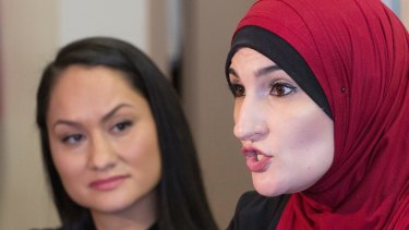 Linda Sarsour (right) and Carmen Perez, co-chairwomen of the Women's March on Washington. Ali Hirsi alleges Sarsour supports Sharia law.
