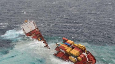 Break-up ... the cargo ship Rena, grounded off New Zealand since October, has been split into two sections that now sit 20 metres to 30 metres apart, after being lashed by pounding seas.