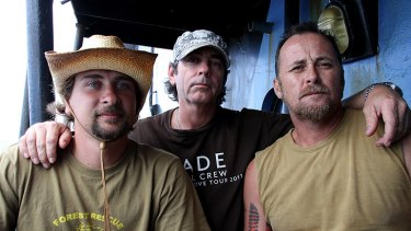 Detained activists Glen Pendlebury, Geoffrey Tuxworth and Simon Peterffy.