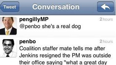 Twitter insult ... a screen grab of the message Michael Pengilly sent today.