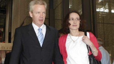Free after three years ... Jeffrey Gilham walks out of court today with his wife Robecca.