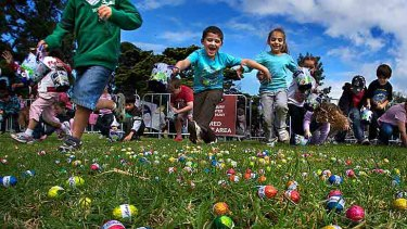 Hunter-gatherers: Children set off at Friday's yearly Royal Children's Hospital Easter egg hunt at Werribee Park.