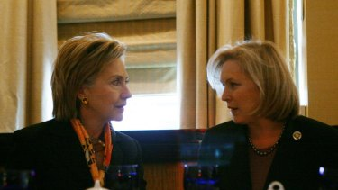 Senator Gillibrand (right) and US Secretary of State Hillary Clinton during a lunch meeting in New York City. Gillibrand wants cybercrime hotspots sanctioned.