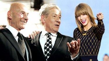 New BFFs: Sir Patrick Stewart, Sir Ian McKellen and Taylor Swift.