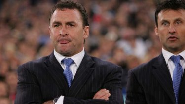 Killer combo: Ricky Stuart and Laurie Daley on the Blues coaching bench in 2005.