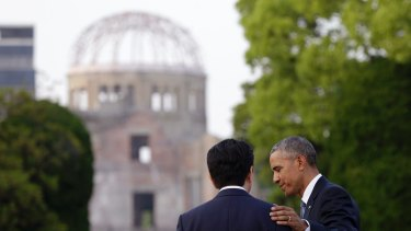 President Barack Obama with and Japanese Prime Minister Shinzo Abe at the Atomic Bomb Dome in Hiroshima in May.