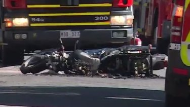 A motorcycle has burst into flames after being struck by a car in another hit-run this time in Melbourne's east.