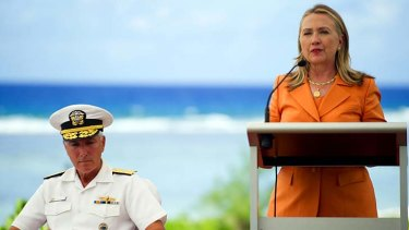 Challenge … Hillary Clinton with the commander of the US Navy's Pacific Command at the forum in Rarotonga, Cook Islands.
