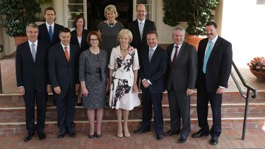 Ms Gillard and Governor-General Quentin Bryce pose for photos with the new ministers.