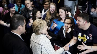Jubilant supporters greet Hillary Clinton at the University of South Carolina volleyball centre in Columbia.