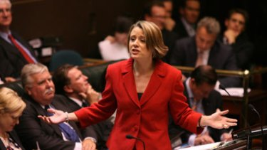 Sexism tactic ... Kristina Keneally during question time in State Parliament yesterday.