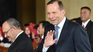 Prime Minister Tony Abbott arrives at the ceremony.