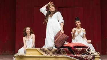 Eve Best (centre) as Cleopatra in Shakespeare's Globe on Screen production of <i>Antony and Cleopatra</i>.