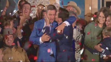Jubilation: Cody Cook, right, embraces his twin brother Luke after House Rules viewers crown them the winners of the Channel Seven renovation series.