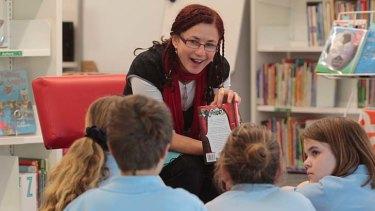 ''Pleasing terror'' … Deborah Abela with students at Stanmore Public School.
