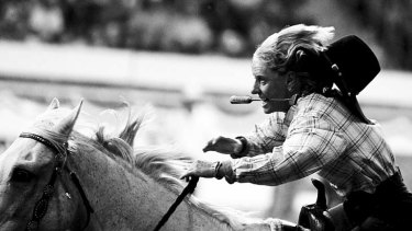 Rein over me ... female rodeo riders from throughout NSW are depicted by Anna Warr in <em>See Jane Run</em>.