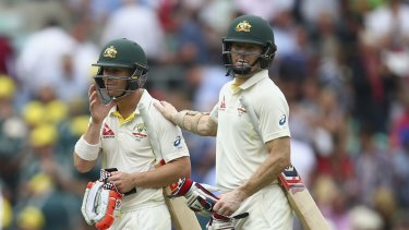 Changing of the guard: David Warner and his now former opening partner Chris Rogers.