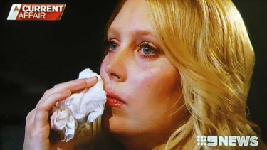 Remorse ... a tearful Mel Greig, who along with fellow 2Day FM presenter Michael Christian was interviewed by Tracy Grimshaw on Channel Nine's <em>A Current Affair.</em>
