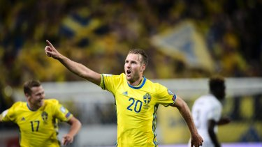 Sweden's Ola Toivonen after scoring their second - and winning - goal against France.