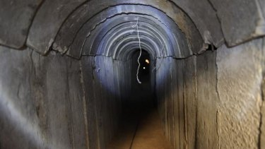 A view of a tunnel reportedly dug by Palestinians beneath the border between the Gaza Strip and Israel.