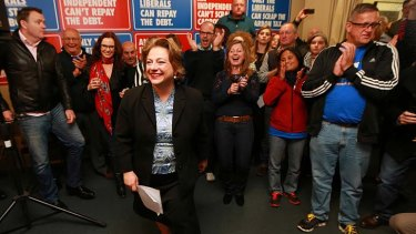 Sophie Mirabella, pictured with her supporters in Wangaratta on election night, has conceded in the battle for Indi.