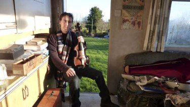 Colm Mac Con Iomaire in his caravan-cum recording studio.