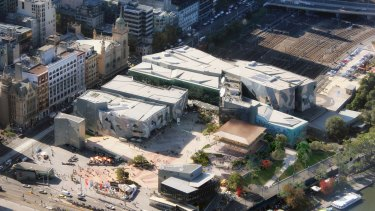 Overhead shot of Federation Square with proposed Apple store.
