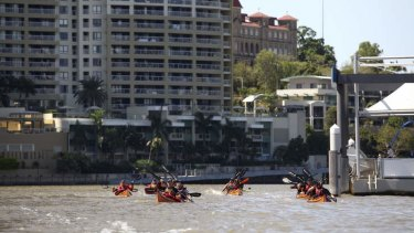 Current and former Australian Defence Force personel kayaked into Brisbane along the Brisbane River as part of the Mates 4 Mates initiative. They kayaked from Sydney to Brisbane to raise awarness for returning servicemen.