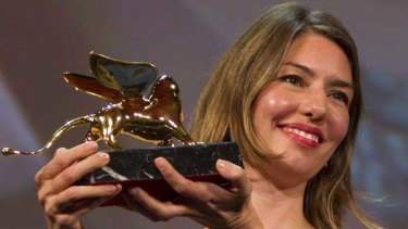 Sofia Coppola with the Golden Lion prize for her film Somewhere at the Venice Film Festival.