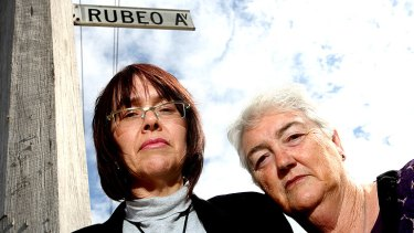 Badge of dishonour ... Christine Dunsmore, left, and her mother Jen Austin want Rubeo Avenue's name changed. Christine was often visited by Victor Rubeo.